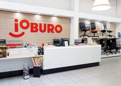 banque d'accueil d'un magasin papéterie et bureautique ioburo