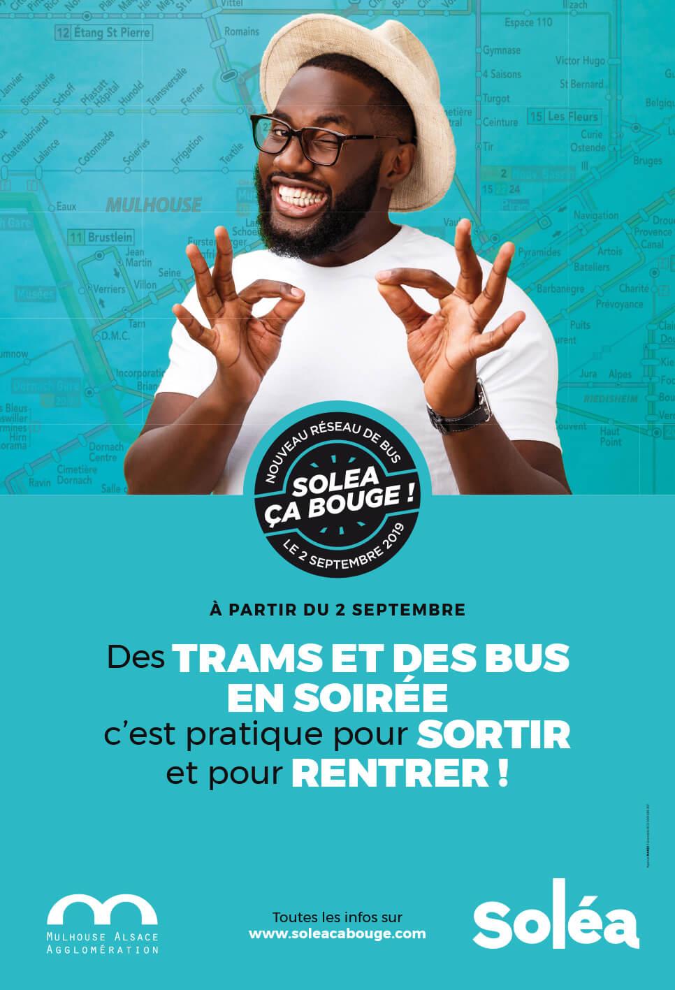 tramet bus en soirée pour sortir à Mulhouse